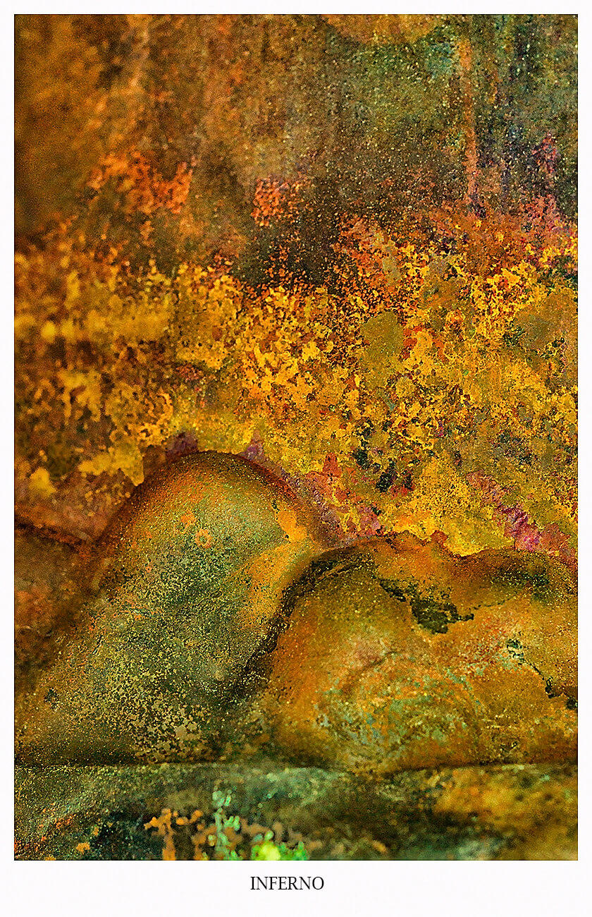 Abstract Photography INFERNO, the image shows a burning landscape, prefereably mounting in flame
